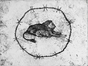 """Fake paradise"" line etching, h 12,8 cm x w 16,7 cm"
